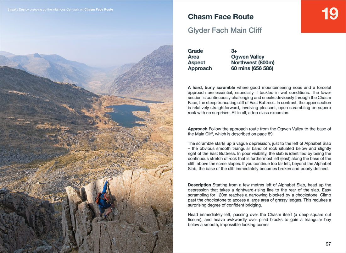 Scrambling on Chasm Face Route in the Ogwen Valley, Snowdonia