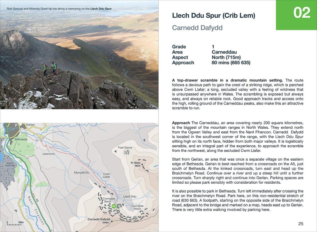 The Lech Ddu Spur scramble in the Carneddau, Snowdonia