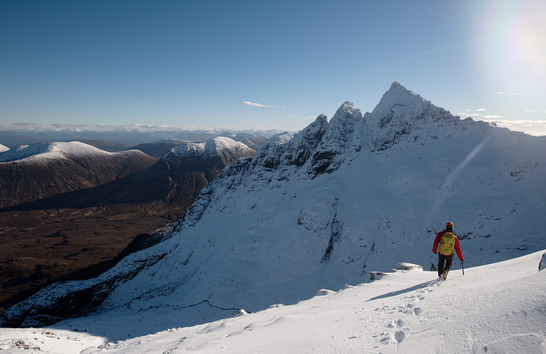 One axe mountaineering on Sgurr nan Gillean, the Cuillin, Skye