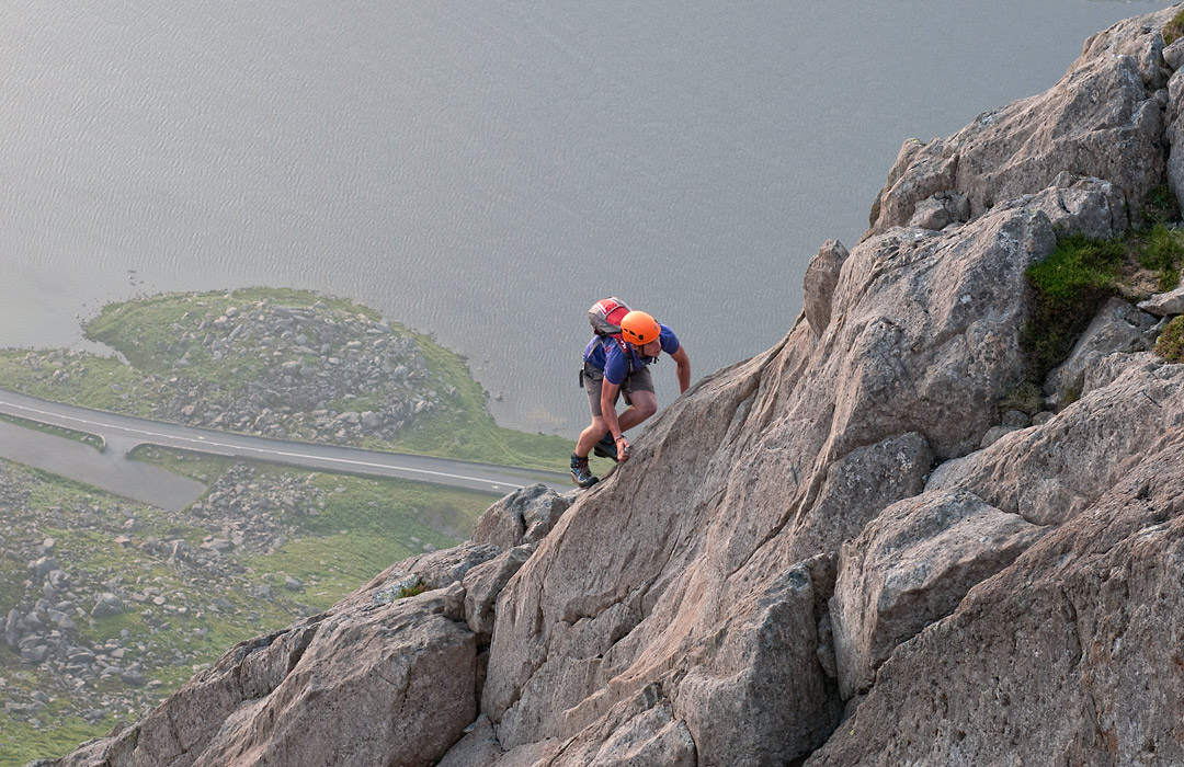 Scrambling on Notch Arete on the west face of Tryfan, North Wales