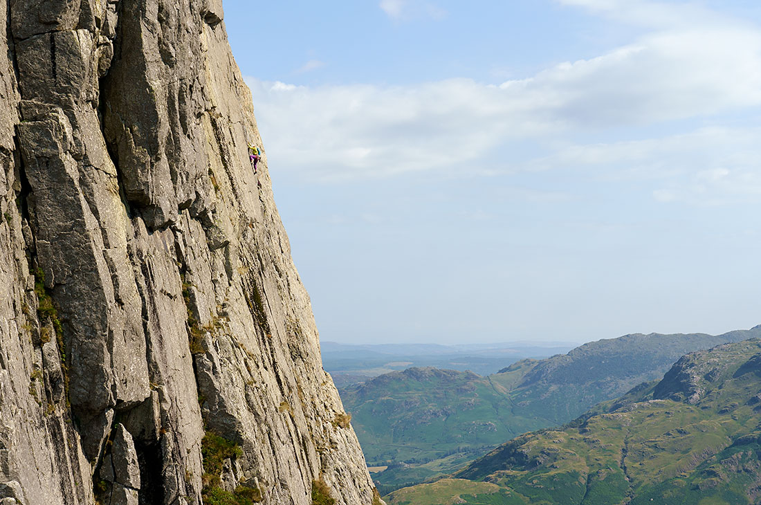 Climbing D Route on Gimmer Crag Langdale